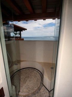 Master shower-has beautiful view of the ocean/sunsets.