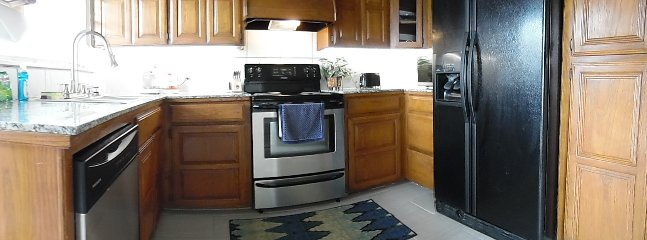 large and small kitchen appliances, plenty of cabinet/counter space with under cabinet lighting!