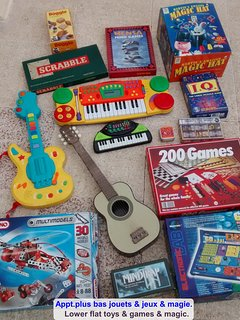 Lower flat: Many toys & games, magic, musical instruments, CDs & DVDs and players, books, etc.