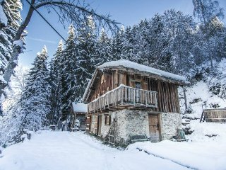 Luxury romantic chalet immersed in nature. Outdoor hot tub.