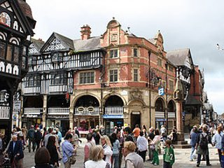 Chester - Famed for it Tudor black and white buildings, race course and a lovely riverside area.