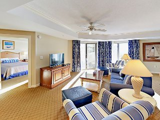 Ocean-View 2BR at Royale Palms – Walk to Private Kingston Plantation Beaches