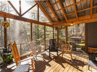 5BR Wooded Escape w/ Screened Porch, Deck, Grill – Near Shopping & Dining