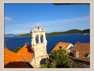 Terrace view of Part of the Old Town and view of the Peljasac Korcula Channel