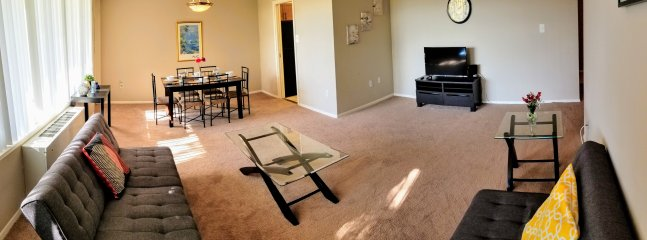 Living room, dining room, two futons and TV with free Netflix, Hulu, HBO, Amazon Prime, Showtime