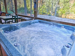 Relax in the private hot tub after hike-filled days.