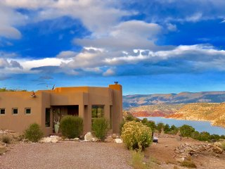 Luxury Abiquiu Lakefront Vacation Rental Experience!  360 Views! Hot Tub, WIFI.