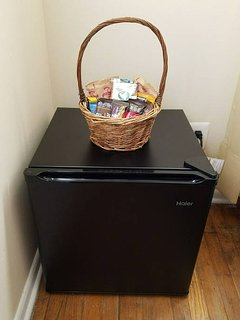 A mini fridge in the larger room is provided for your convenience.
