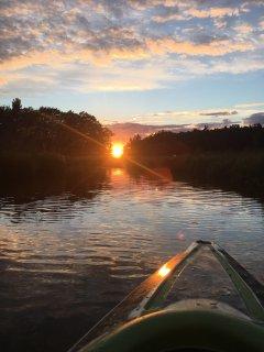 sunset on a kayak trip