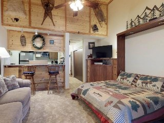 Cozy, dog-friendly studio w/ shared pool, hot tub, tree-lined views, near lake
