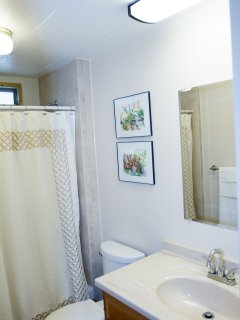 Second bathroom, newly remodeled with luxury tiled shower