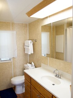 Master bathroom, newly remodeled with luxury tiled shower.
