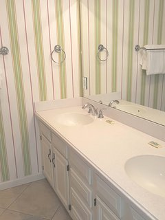 Big, double sink vanity with lots of counter space