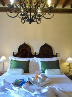 Romance and history! White crisp linens and breakfast in bed in a Medieval tower