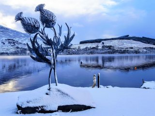 3m high Sculpture in Briar Cottages Loch Garden by Kev Paxton
