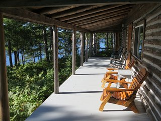 Front porch with panoramic view of lake.