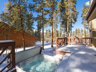 Hot tub off back deck with ski area views
