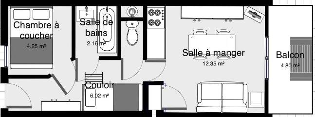 plan de l'appartement 25M2, meubles et surface