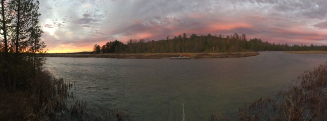 Sunset from the Grass River Natural Area, a 10-minute boat-ride away, or 15 minutes by car.