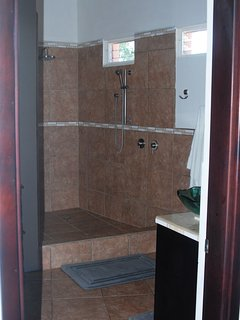 Large tiled shower.