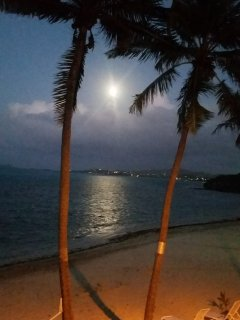 Moon rise over Christiansted from balcony chair!
