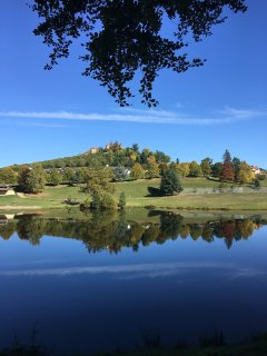 Swimming lake at Vernet with chateau de Monfort on the hill top 1.5 kms