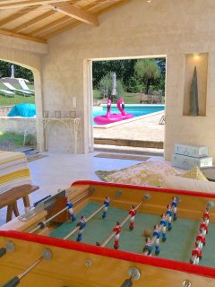 Gites at Sibemol's Pool house with many games there at disposal of all our guests