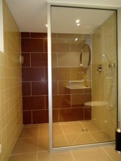 The large walk in shower with quality finishings
