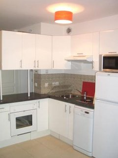 The kitchen equipped with modern amenities