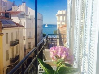 One bedroom rental in Cannes close to the Palais. Aircon, internet and sea