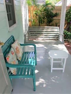 Front porch swing and bench, great for coffee or cocktail