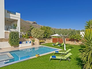 Great garden with grass,for all day relaxation and suntan next to the pool !