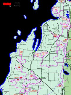 Snowmobile trails around Blue Lake and surrounding areas