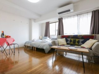 4F West Shinjuku Studio for 3 people in a safe and peaceful neighbourhood.