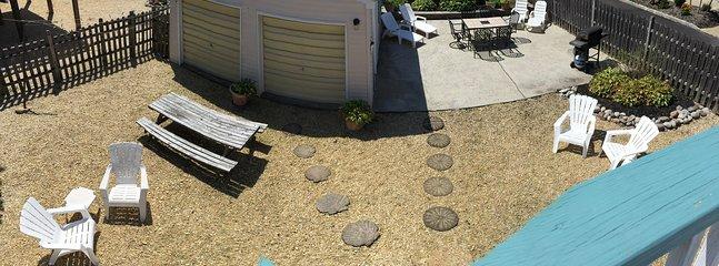 Table de patio pour les repas en plein air, table de pique-nique pour les arts et l'artisanat + salon et des chaises Adirondack