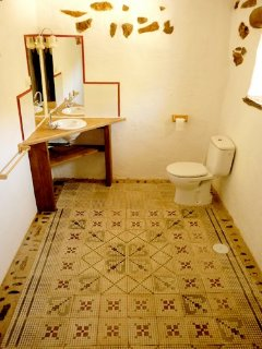 Ground floor bathroom, shower is wheelchair compatible.