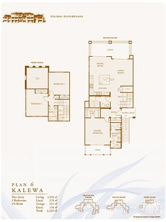 Poipu Pili Mai Floor Plan - 3 bdm, 3 bathroom