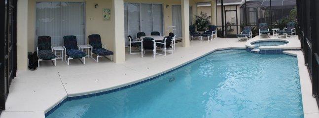 Generously furnished large pool deck