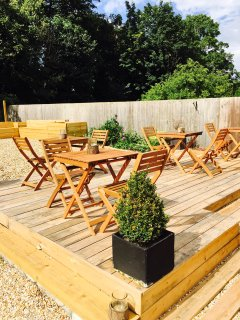 chefs Herb Garden and seating at The pear tree Pensione