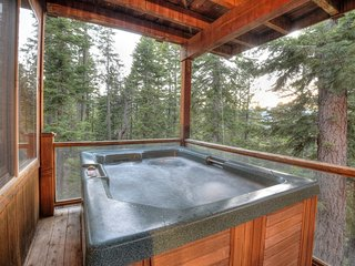 Hot tub overlooking Lake Tahoe out on the side deck