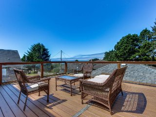 Spacious home w/decks, ocean views and fenced yard - walk to the beach