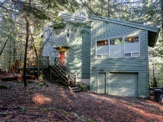 Forest view home w/ private hot tub, firepit & decks - ski & hike, dogs welcome!