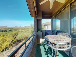 Dog-friendly & spacious desert condo with a shared pool, hot tub & golf onsite!