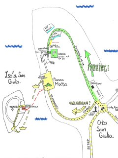 Map of the Orta peninsula showing access to main square for unloading and route to garage.