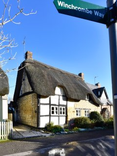 Bells Cottage, Alderton on the Winchcombe Way at the end of a no through lane