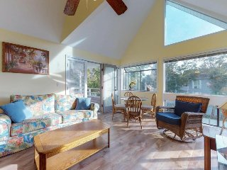 Family condo with private balcony, shared pools, hot tub, and tennis courts
