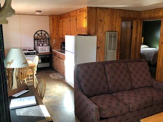 Dog-friendly cabin with kitchen, entertainment, & ski access nearby