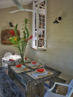 Pass through window from the kitchen to the outdorr dining table