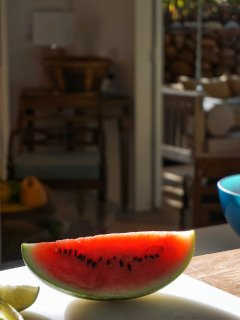 Watermelon on the deck for a great snack