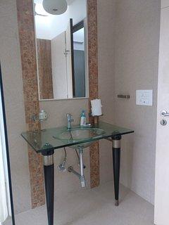 One of the designer basins in the villa